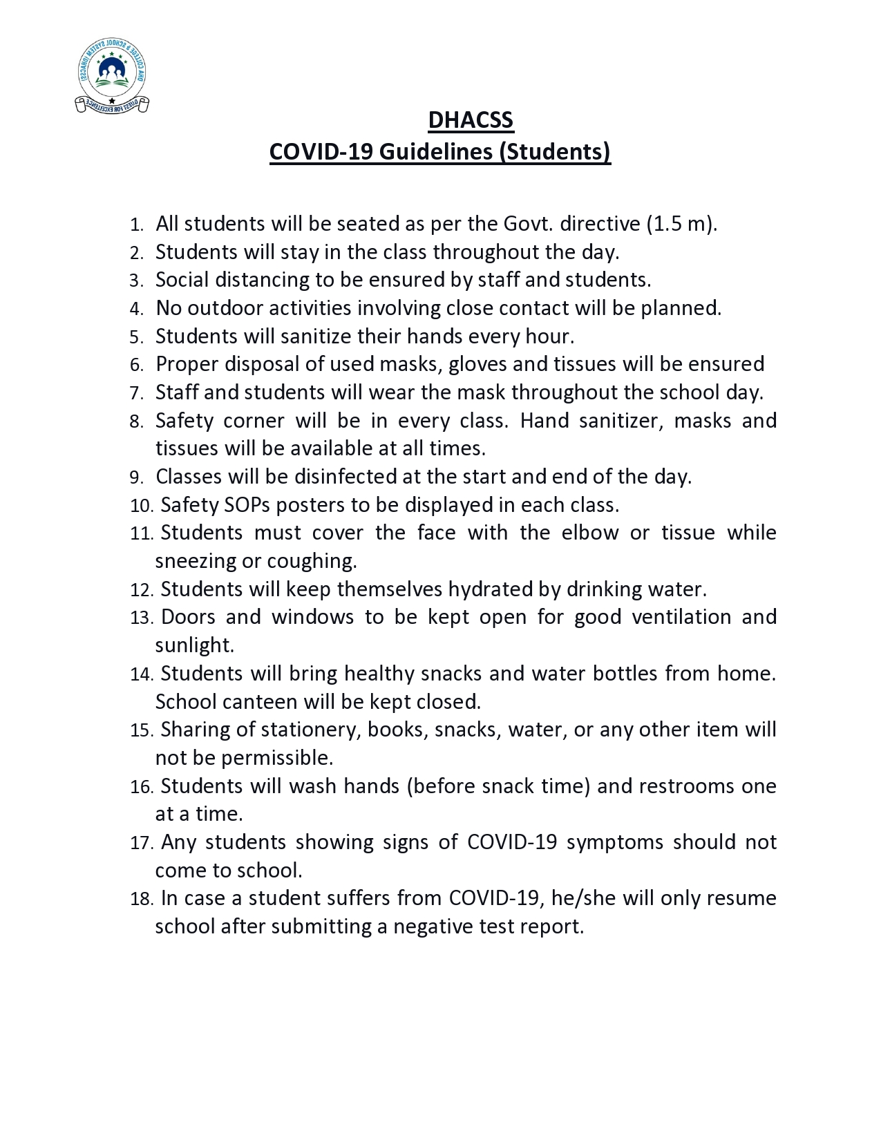 DHACSS COVID Checklist for Students